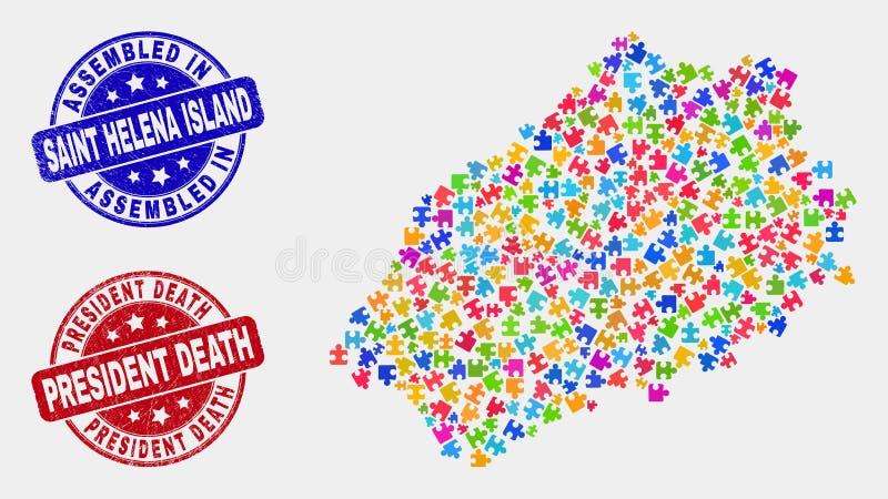 Santo Helena Island Map del rompecabezas y Grunge montado y presidente Death Seals stock de ilustración