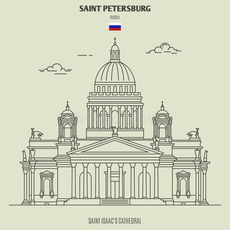 Santo Isaac Cathedral en St Petersburg, Rusia Icono de la se?al ilustración del vector