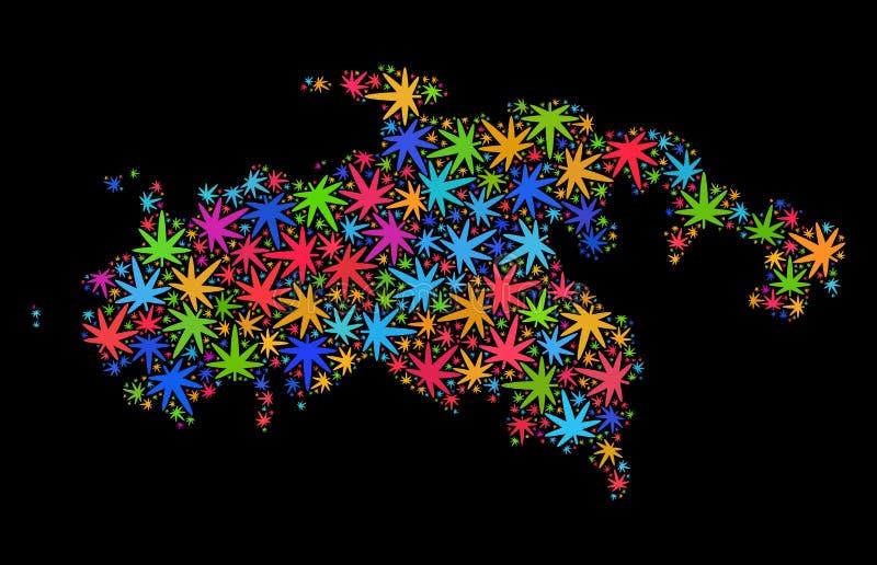 Santo John Island Map del mosaico de las hojas coloridas del cáñamo stock de ilustración