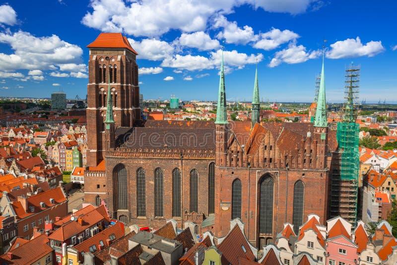 Santo Mary Cathedral en la ciudad vieja de Gdansk fotos de archivo libres de regalías
