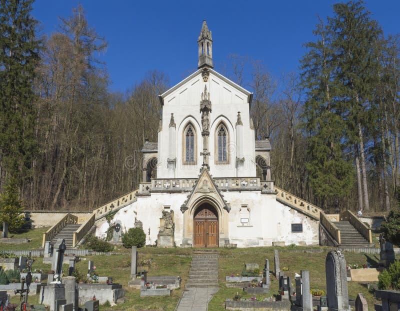 Santo Maximilian Chapel, iglesia barroca con el cementerio viejo en Saint John debajo del acantilado, vaina Skalou, Checo de Svat imagenes de archivo