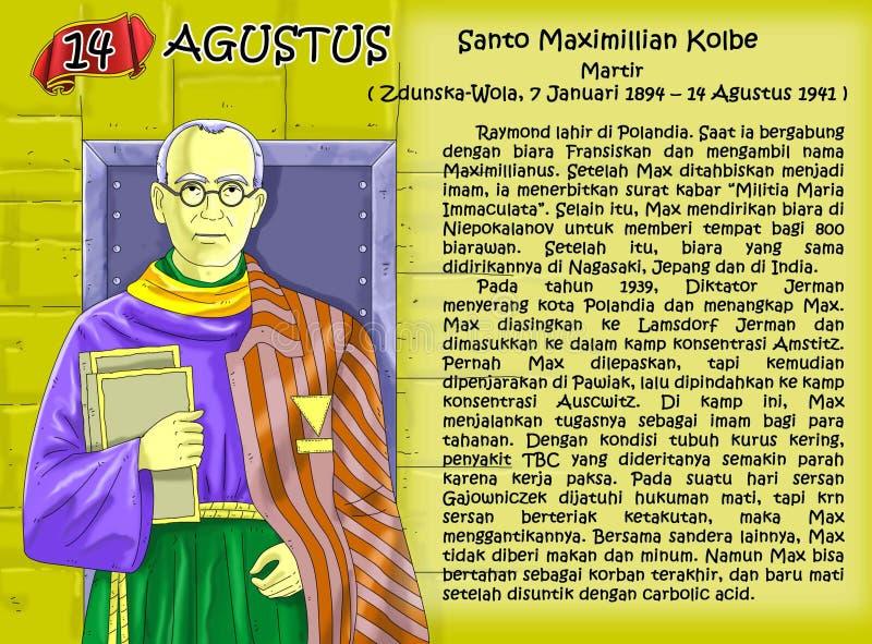 Santo Maximiliano科尔比日历基督徒想法页 皇族释放例证