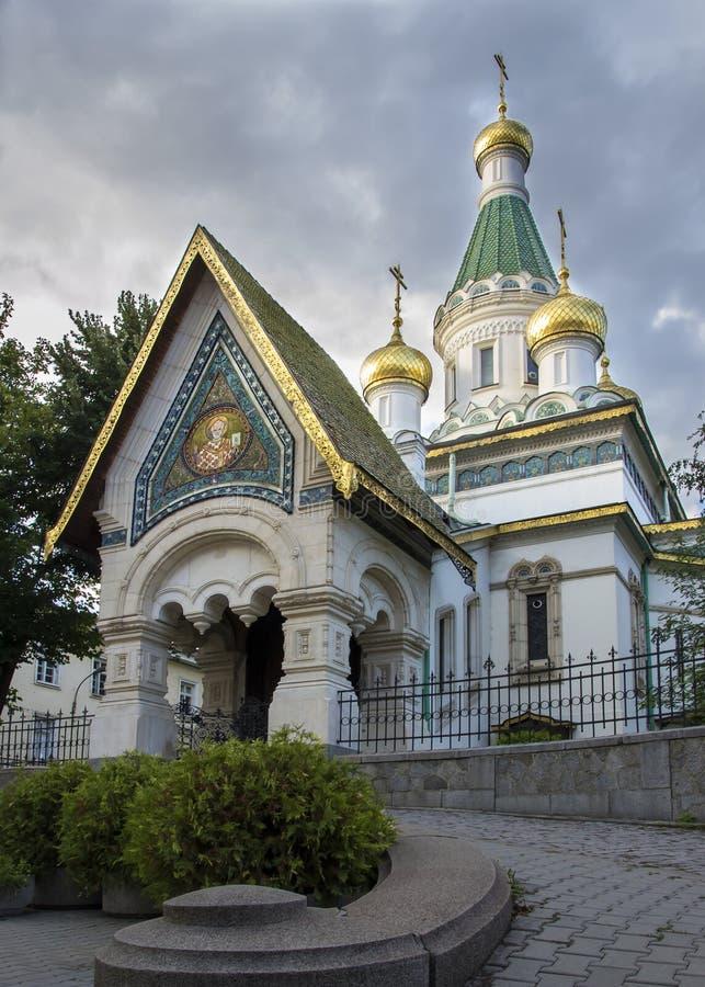 Santo Nikolas Russian Church en Sofia Bulgaria imagen de archivo libre de regalías