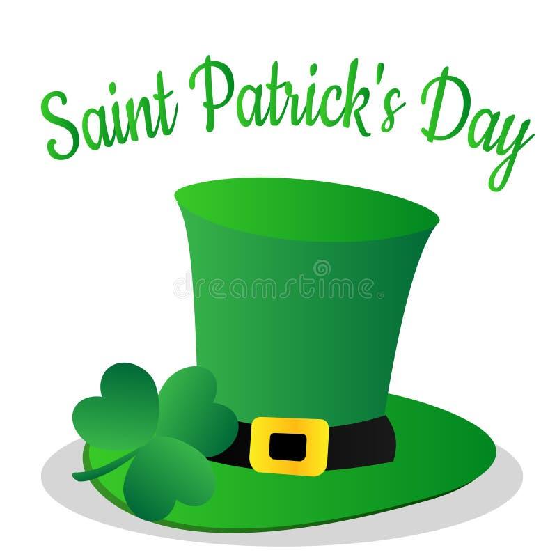 Santo Patrick Day con la hoja del trébol y el sombrero verde stock de ilustración