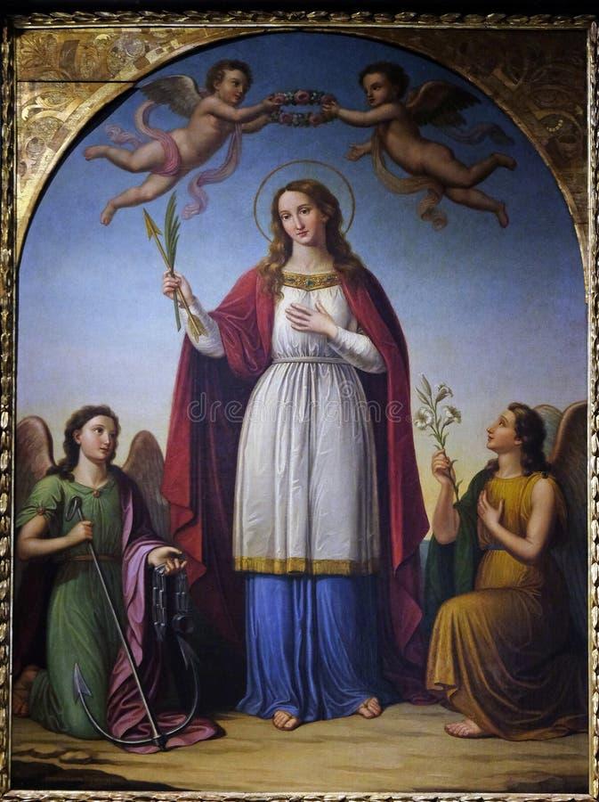 Santo Philomena flanqueado por dos ángeles fotografía de archivo libre de regalías