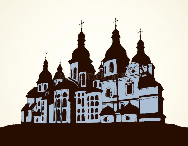 Santo Sophia Cathedral del vector en Kiev, Ucrania stock de ilustración