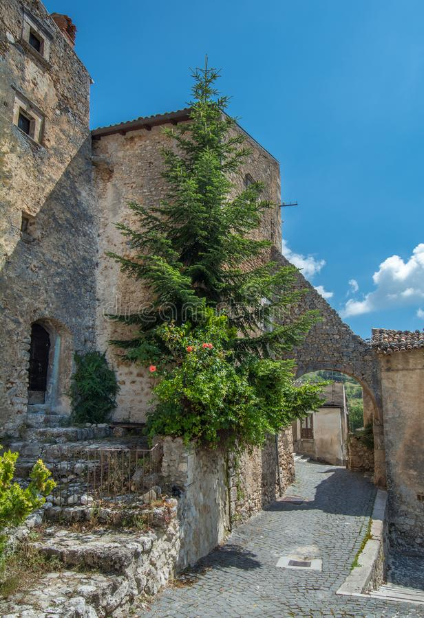 Scenic sight in Santo Stefano di Sessanio, province of L`Aquila, Abruzzo, central Italy. stock photo