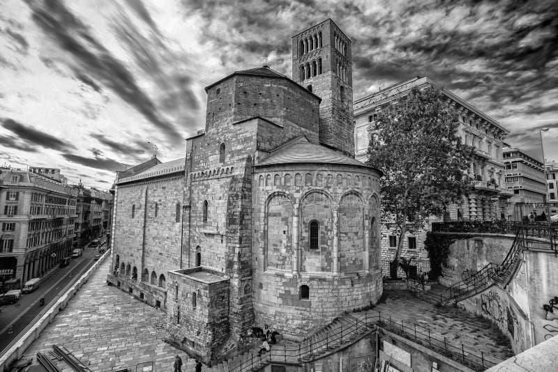 Santo Stefano Saint Stephen Church nel centro urbano di Genova, Italia fotografia stock