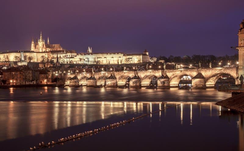 Santo Vitus Cathedral y Charles Bridge de Praga en la noche, checa fotos de archivo