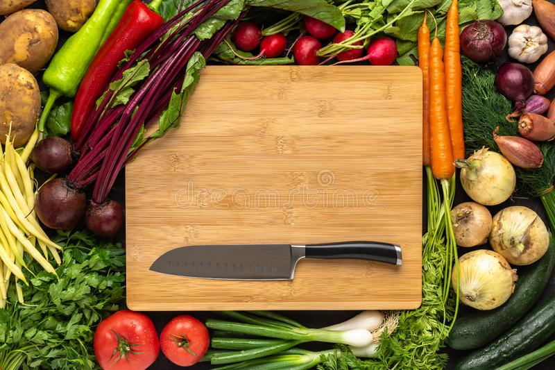 Santoku kniv på träskärbräda med bakgrund för nya grönsaker Strikt vegetarianr?kost royaltyfria bilder