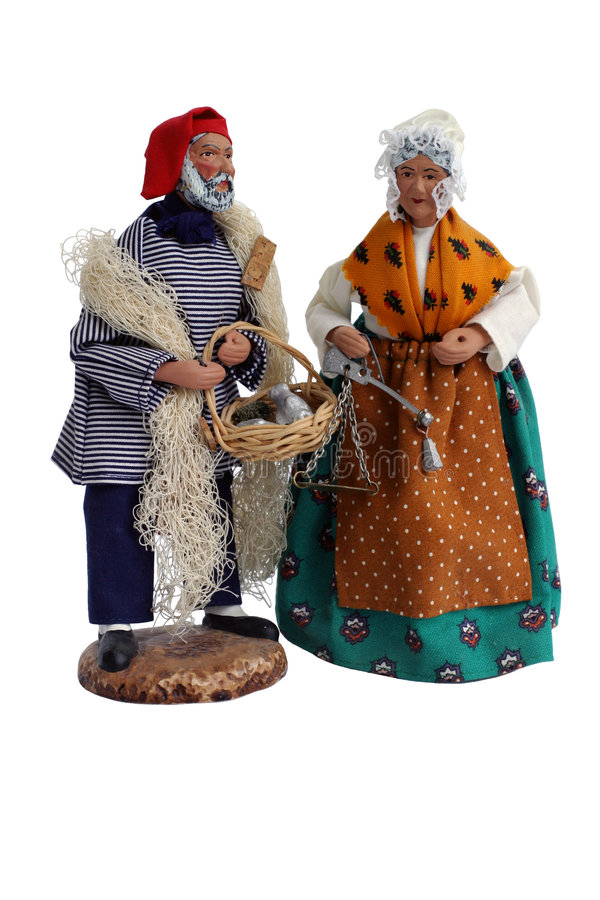Santon Figurines. Christmas Provence santons (Christmas crib figures royalty free stock photo