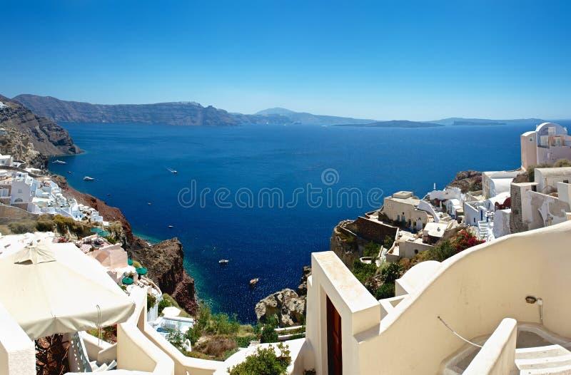 Santorini海岛。 全景。 免版税图库摄影