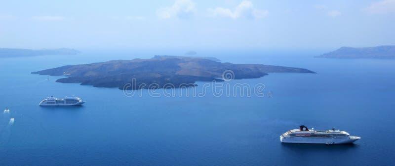 Santorini火山, cyclades,希腊 库存图片