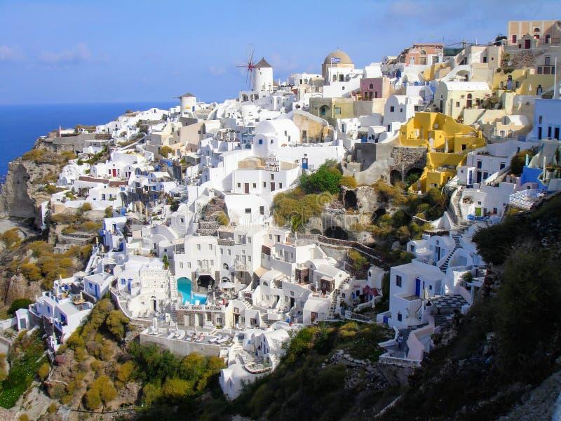 Santorini, één van het meest bezochte Eiland Griekenland stock foto's