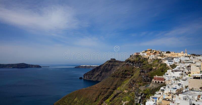 Santorini ö, Grekland - Caldera över det Aegean havet arkivfoto