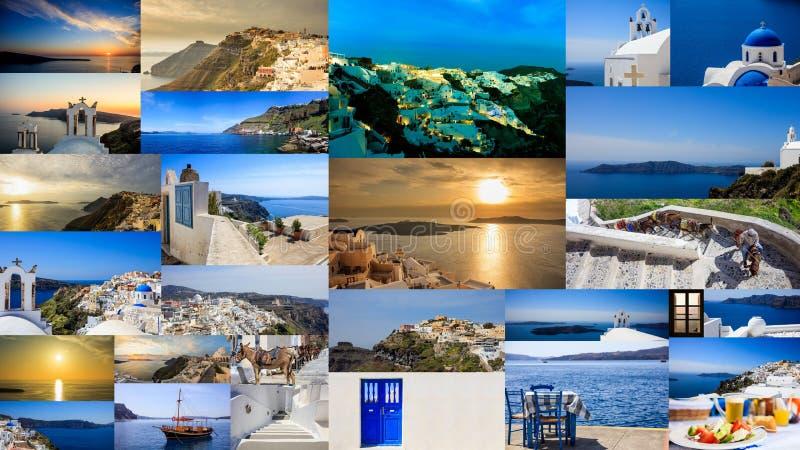 Santorini ö, Grekland - collage royaltyfria foton