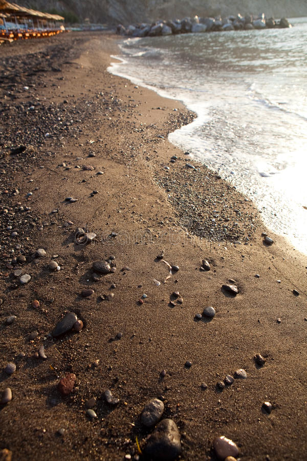 santorini άμμου perissa της Ελλάδας παρ στοκ εικόνες