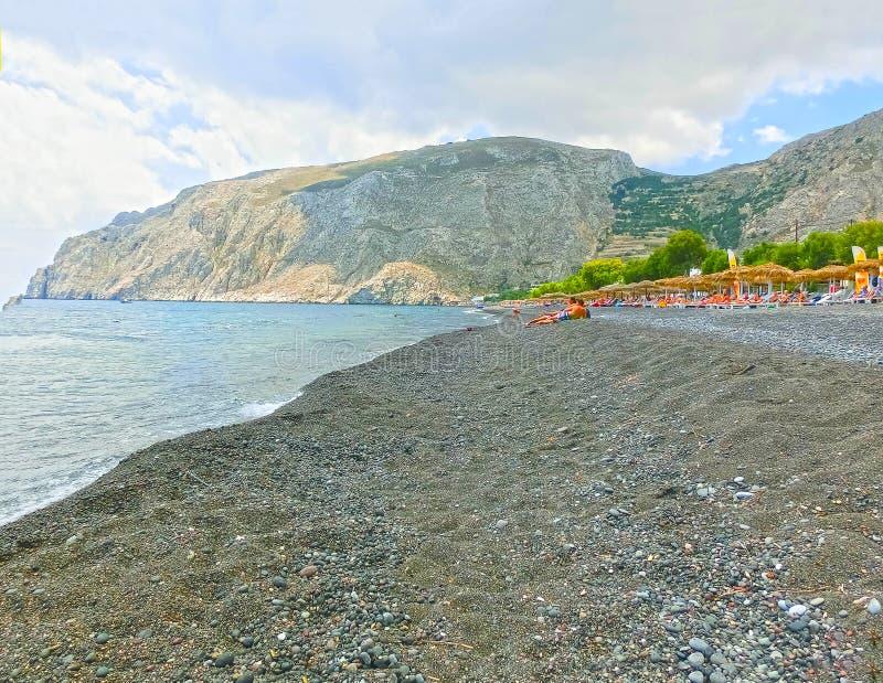 santorini άμμου perissa της Ελλάδας παρ στοκ φωτογραφία με δικαίωμα ελεύθερης χρήσης