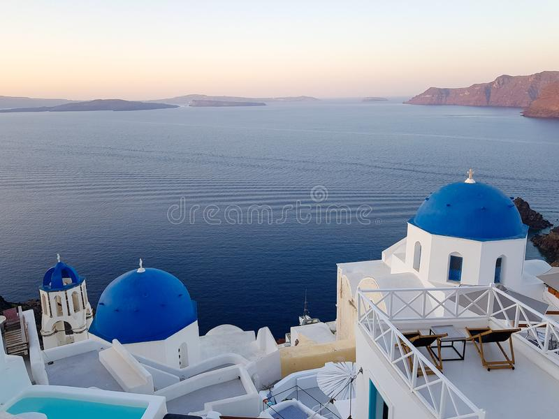 Santorini και η ανοικτή θάλασσα στοκ φωτογραφίες με δικαίωμα ελεύθερης χρήσης