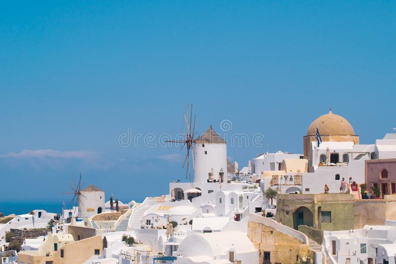 santorini νησιών της Ελλάδας περιοχή Μόσχα μια πανοραμική όψη Τόπος προορισμού τουριστών Καλοκαίρι στοκ φωτογραφία