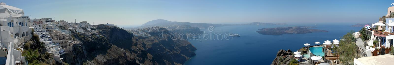 Santorini πανοράματος Στοκ Φωτογραφία