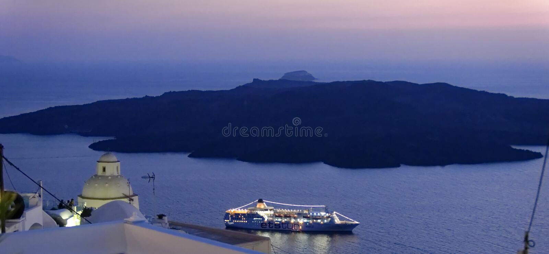 Santorini τη νύχτα στοκ εικόνες