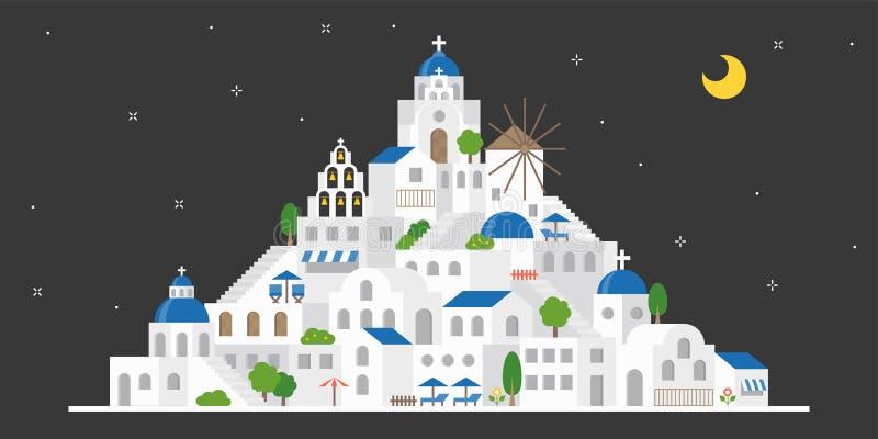 Santorini, Греция в сцене ночи, плоский дизайн включает ориентир ориентир иллюстрация штока