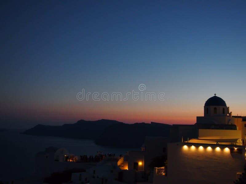 Santorini к ноча стоковые изображения rf