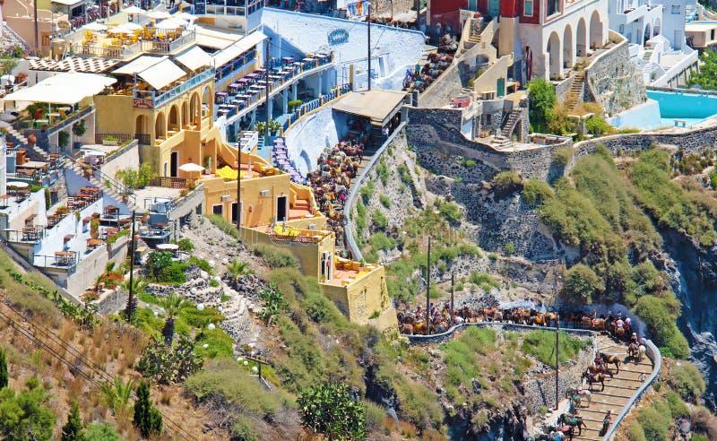 santorini острова холма Греции зданий ослы стоковые изображения rf