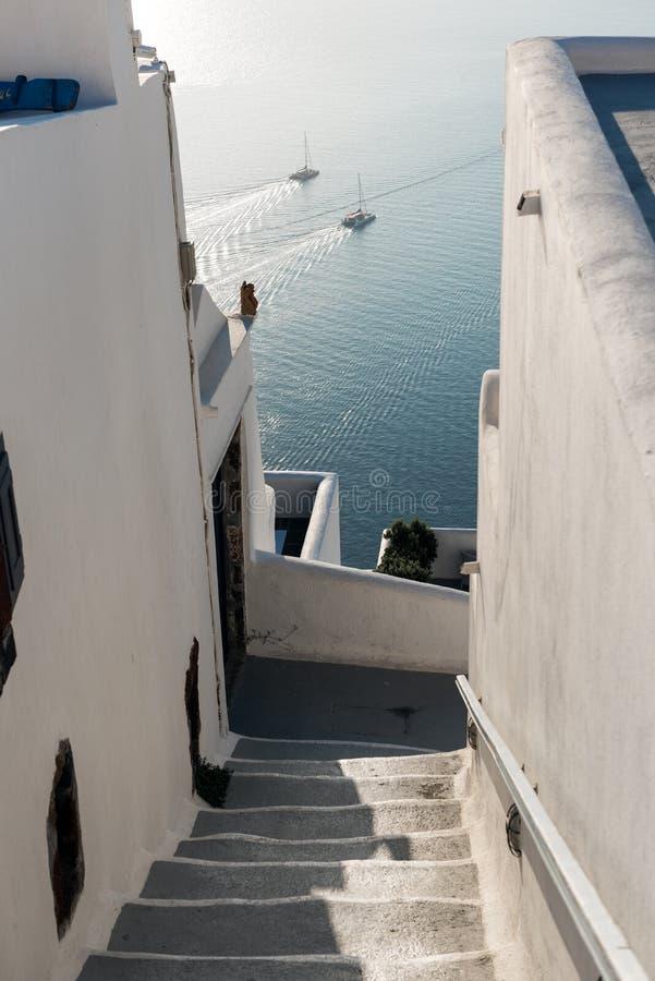 Santorini bana arkivbilder