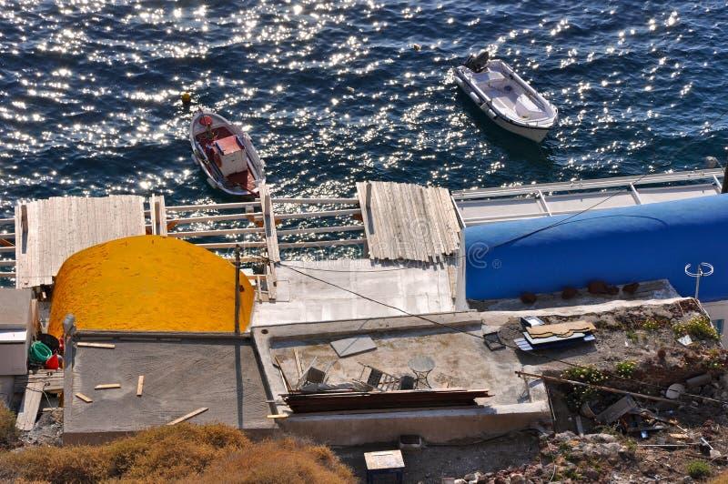 Santorini - bateaux image libre de droits