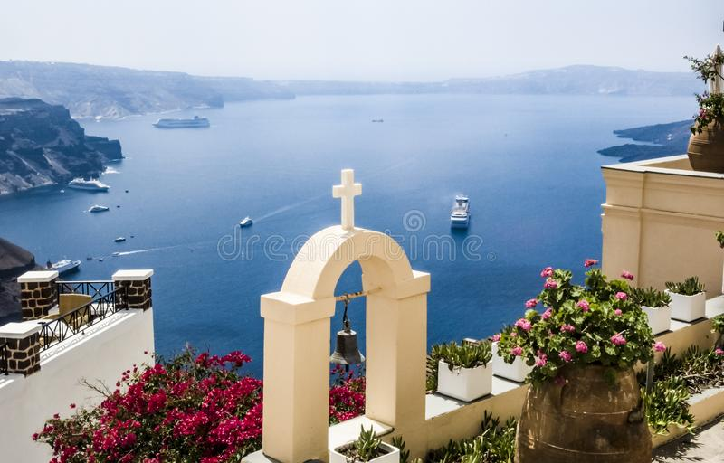 Santorini beautiful view from patio over Caldera royalty free stock image