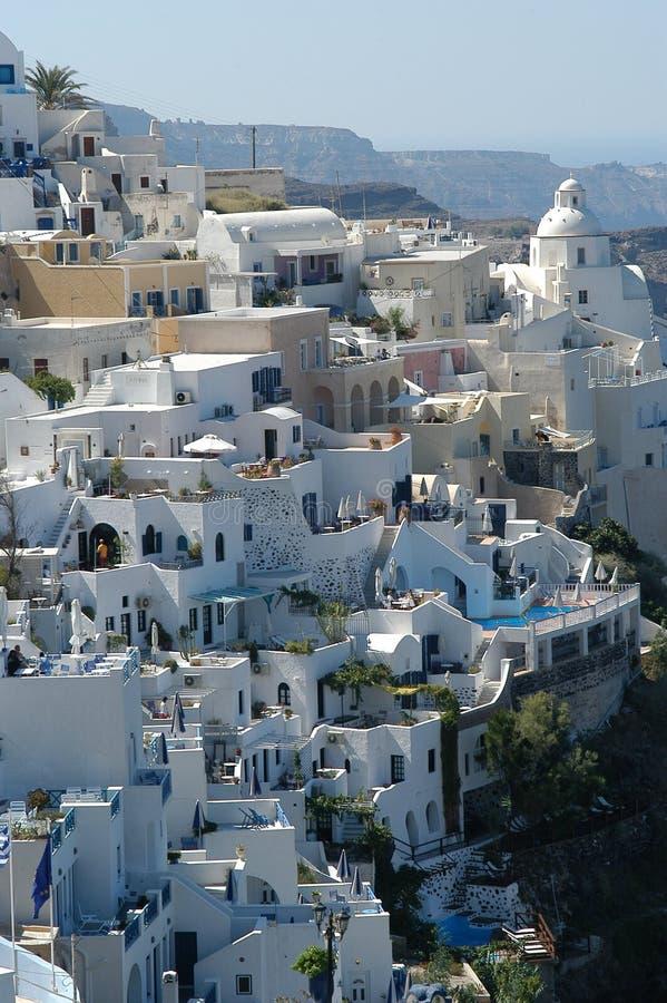Download Santorini bis zum Tag stockfoto. Bild von panorama, meer - 25478