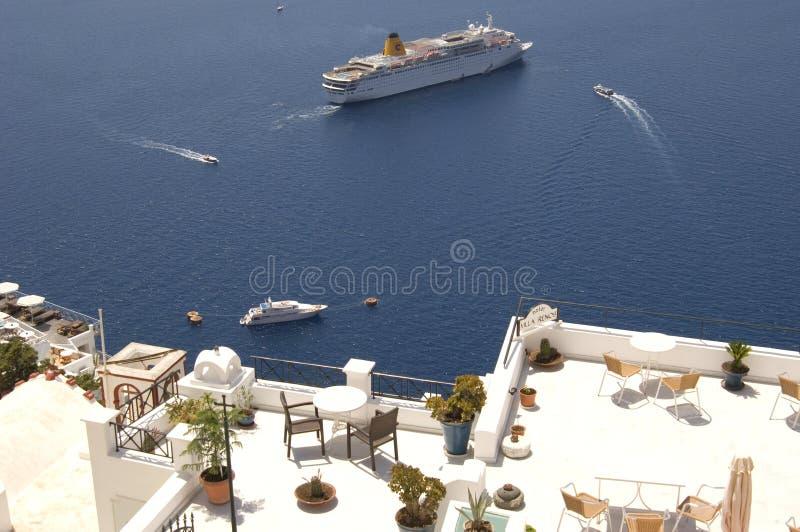 Download Santorini Boats And Balconies Stock Image - Image: 5900921