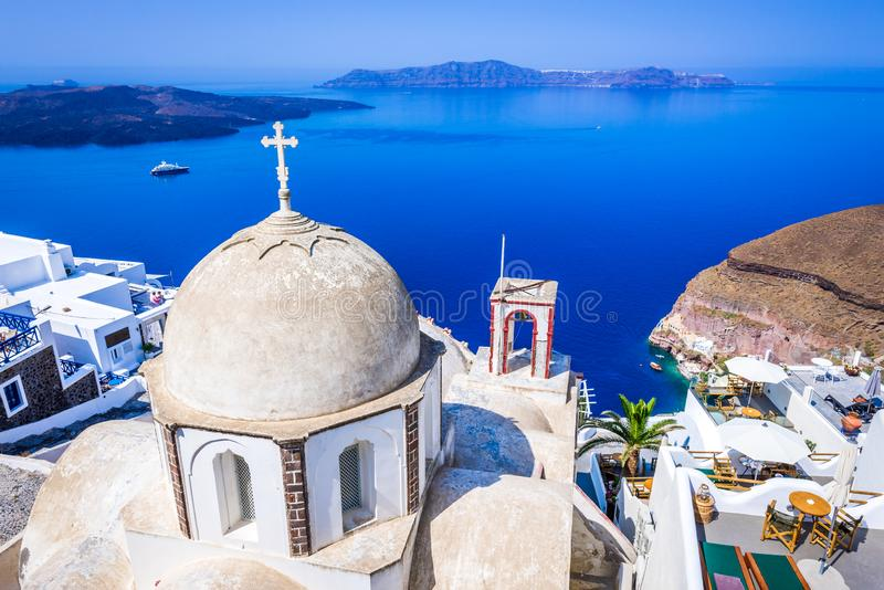 Santorini, chiesa di Firostefani - della Grecia fotografia stock libera da diritti