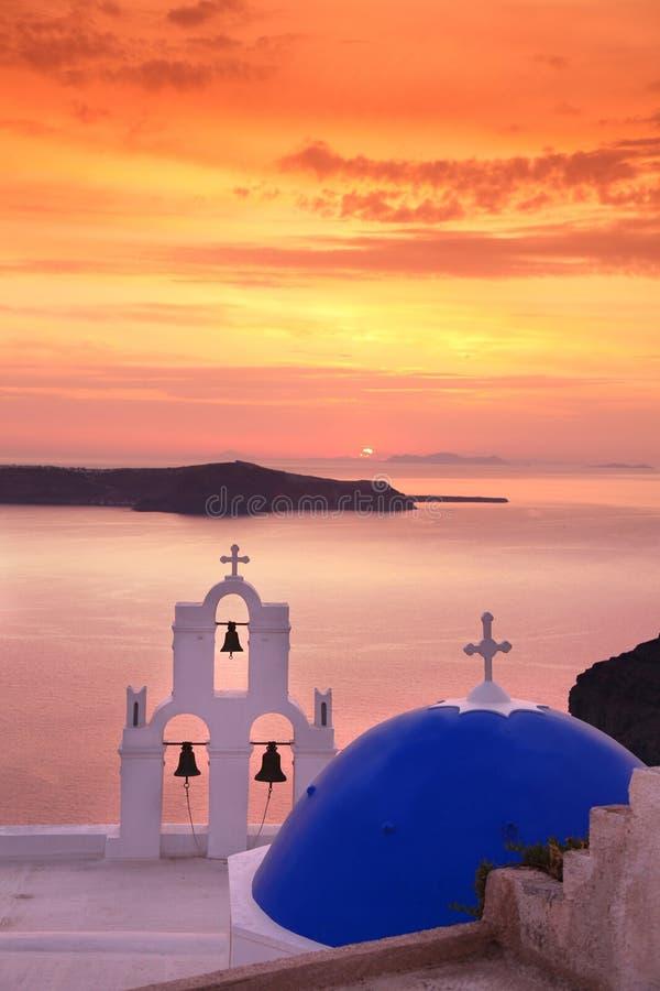 Santorini Church In Fira Against Sunset,Greece Stock Images