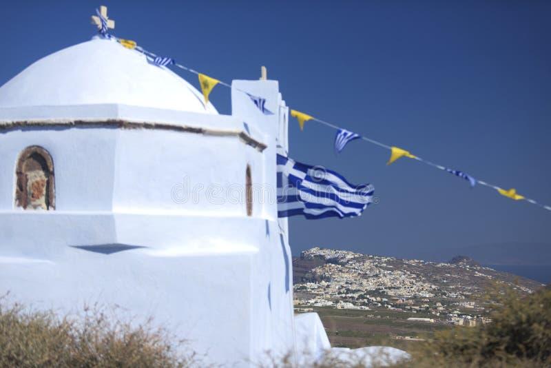 Download Santorini church stock image. Image of countryside, flag - 34482043
