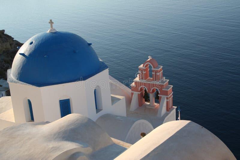Santorini Churches. Greek churches in a beautiful island stock photos
