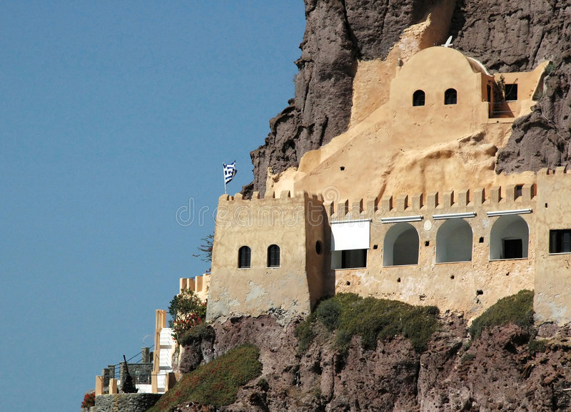 Santorini Coastal Fortress. With anti aircraft gun on the bottom left corner - Greece royalty free stock image