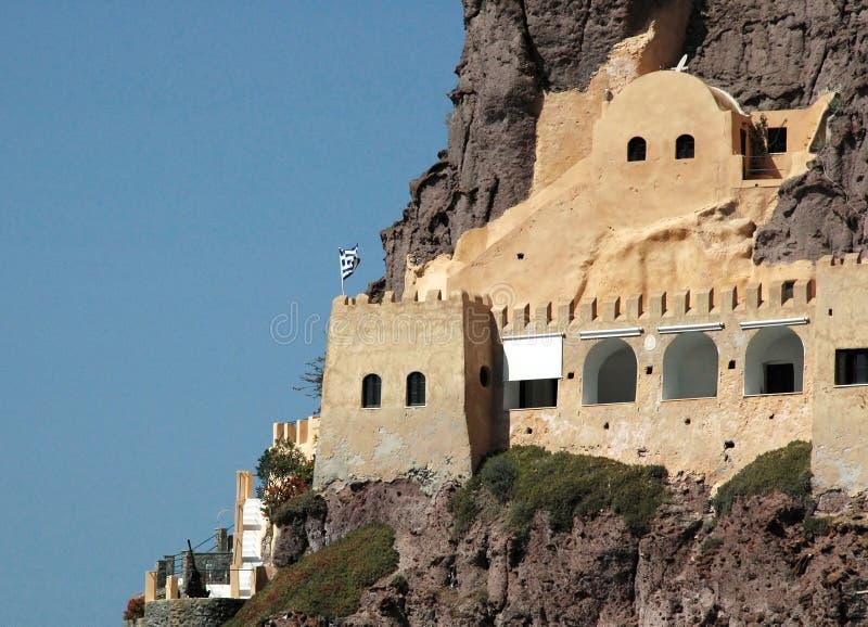 Santorini Coastal Fortress royalty free stock image