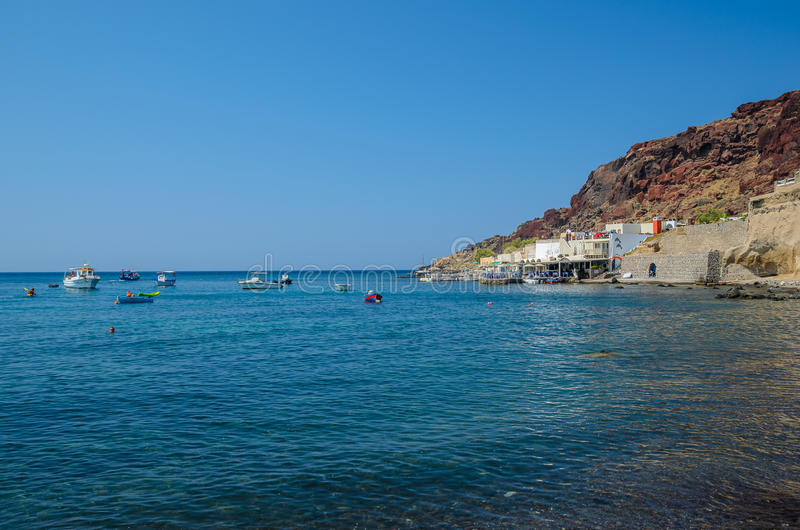 Santorini czerwieni plaża, Grecja obrazy royalty free