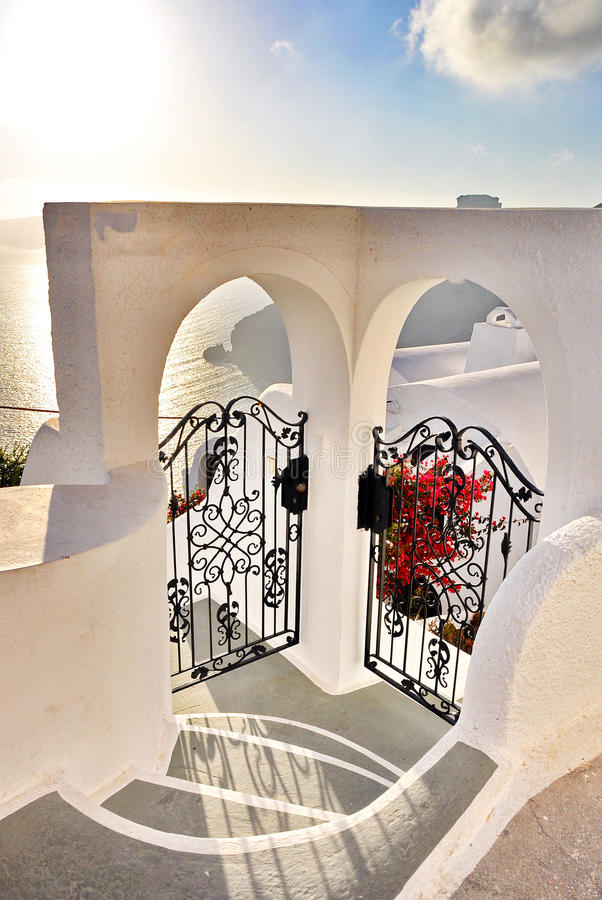 Santorini door stock photos
