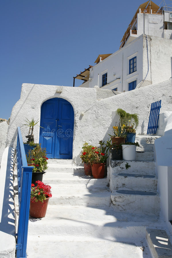 Santorini entrance stock photo
