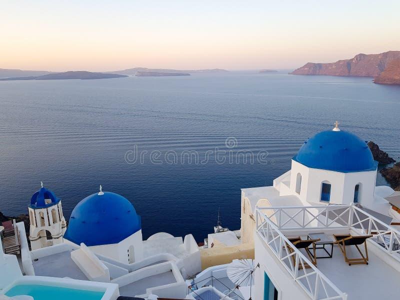 Santorini et la mer ouverte photos libres de droits