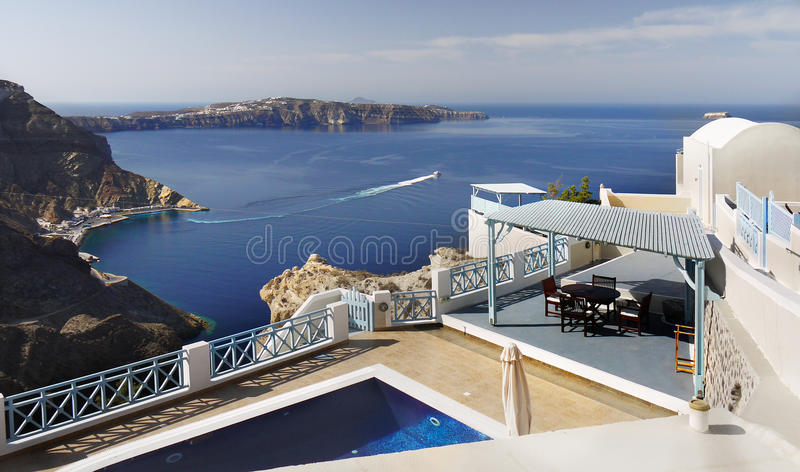 Santorini, Ferry Port Athinios royalty free stock photos