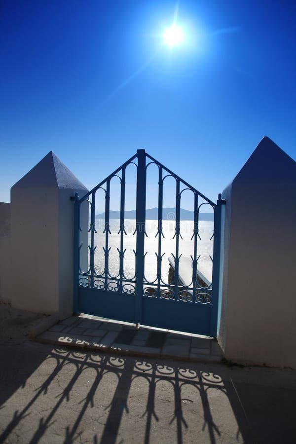 Santorini, Gate against sunset in Fira
