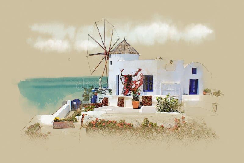 Santorini, Grecia, postal vieja Bosquejo de la acuarela Sepia Gráficos en el papel viejo ilustración del vector