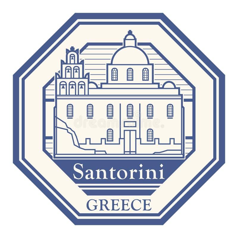 Santorini, Grecja znaczek ilustracji