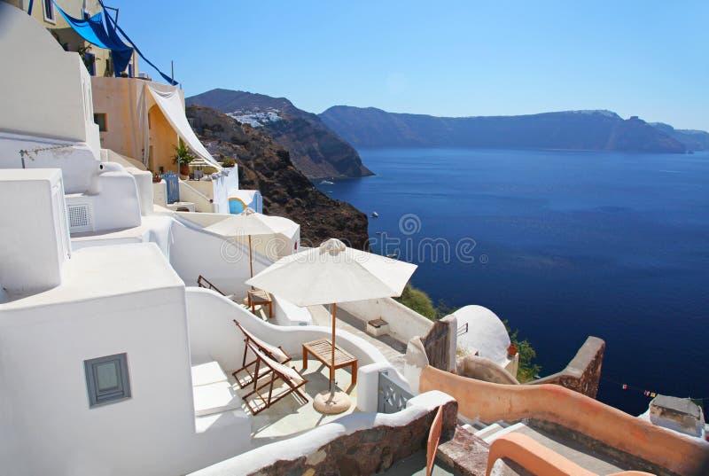 Santorini in Greece. The village of Oia on the Greek island of Santorini stock photos