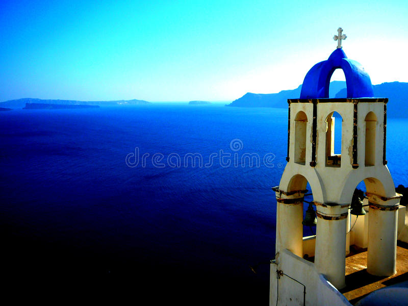 Santorini, Greece. Blue dome church in Santorini, Greece royalty free stock photos